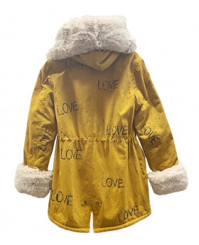 Eco-fur Hand painted Parka