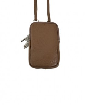 Phone Holder in Genuine Leather with shoulder strap