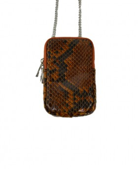 Phone Holder in Genuine Leather Python Print with shoulder strap