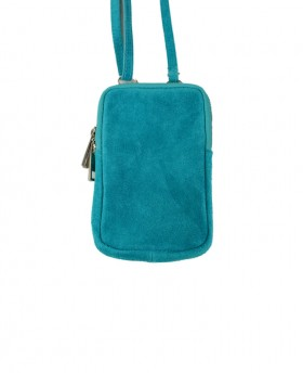 Phone Holder in Genuine Suede Leather  with shoulder strap