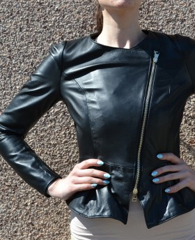 Leather jacket with peplum