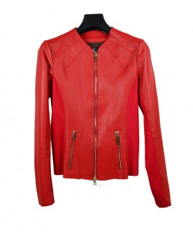 Leather jacket with stretch...