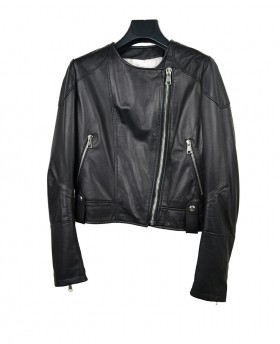 Short leather jacket with...