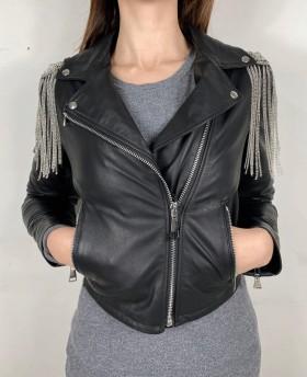 Short leather jacket with details Black