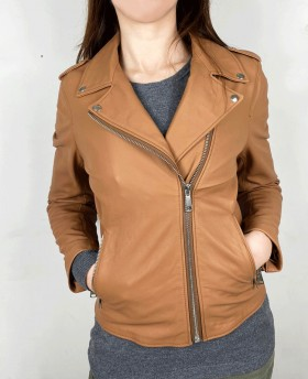 Rock style leather jacket Leather Brown
