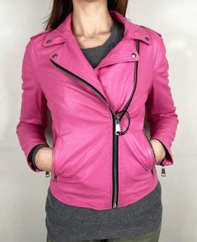 Rock style leather jacket Shocking Pink