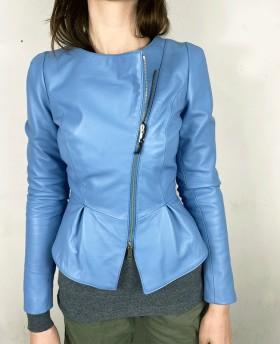 Leather jacket with peplum Light Blue