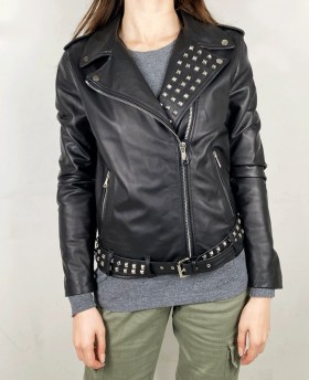 Rock Leather jacket with studs Black