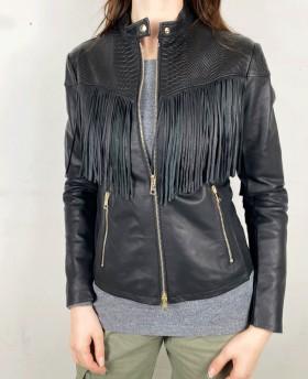 70s Leather jacket with fringes Black