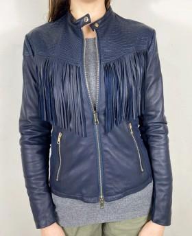 70s Leather jacket with fringes Dark Blue