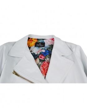 Optic White rock style leather jacket