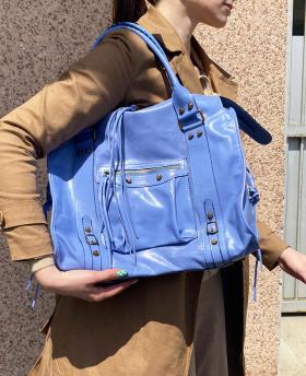 Leather Shoulder Bag with Strap Cornflower Blue
