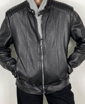 Men's Leather Jacket with stitching