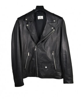 Men's Leather Jacket with...