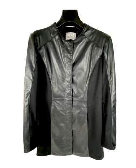Long leather jacket with...