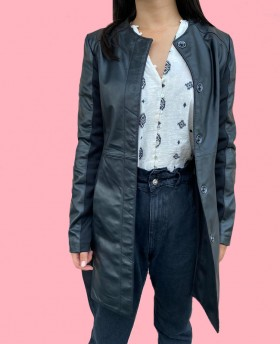 Long leather jacket with fabric details