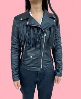 Leather jacket with fringes