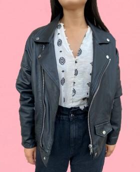 Oversize leather jacket