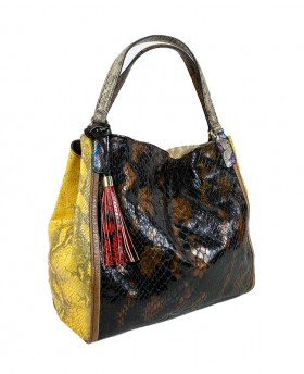 Shopping bag with leather...