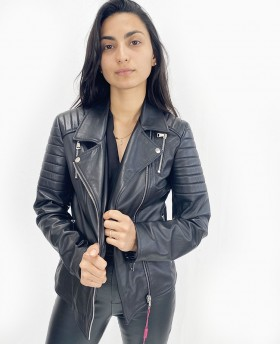 Classic leather jacket with...