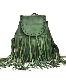 Vintage style backpack with fringes
